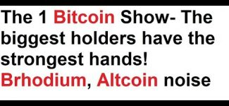 The 1 Bitcoin Show- The biggest holders have the strongest hands! Brhodium, Altcoin noise